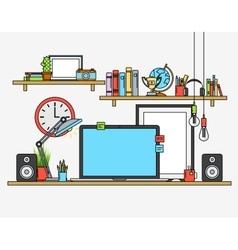 Line flat design mock up of modern workspace vector image