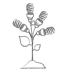 monochrome sketch with plant stem with leaves and vector image vector image