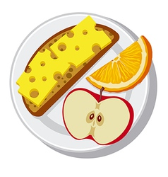 plate with breakfast vector image