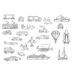 Road air water and railroad transport sketches vector