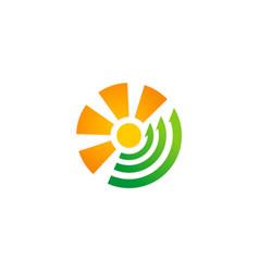 round sunny arrow eco logo vector image