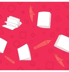 School notes seamless pattern on pink background vector