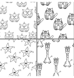 Set Funny Seamless pattern with cat giraffe owls vector image