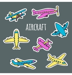 Set of air transport white silhouettes vector image vector image