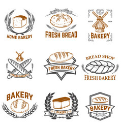Set of bakery labels bread shop fresh bread vector