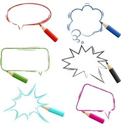 Set of hand-drawn speech bubbles with pencils vector image vector image