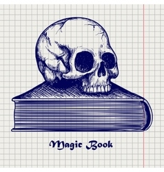 Skull on book ball pen sketch vector