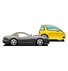 Sports car and tiny car vector