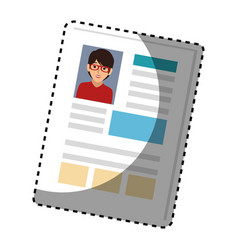Sticker woman file info with curriculum vitae vector