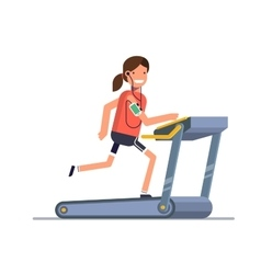 The girl goes in for sports on a treadmill while vector image