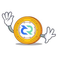 Waving decred coin character cartoon vector