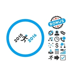 Run to 2016 year flat icon with bonus vector