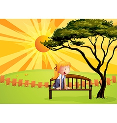 Sunshine park bench girl vector