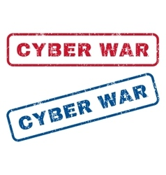 Cyber war rubber stamps vector