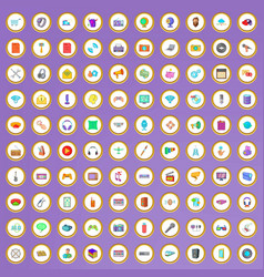 100 mobile app icons set in cartoon style vector image