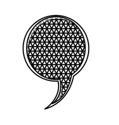 silhouette circular speech with metal grid of vector image