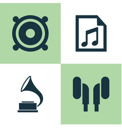 audio icons set collection of file megaphone vector image