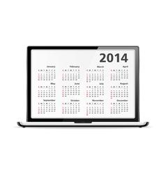 2014 Calendar in Laptop vector image