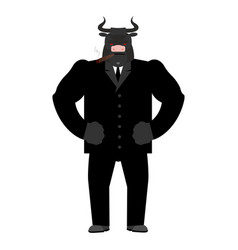 Bull boss beef businessman in suit farm animal vector