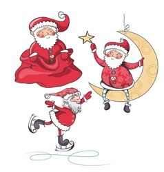 set of three Santa Claus on white background vector image