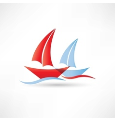 Sailboats in the sea icon vector