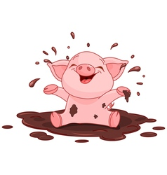 Piggy in a puddle vector
