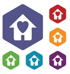 Love house rhombus icons vector