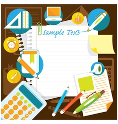 Office supplies and stationery background frame vector