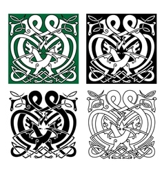 Fighting dragons with celtic knot ornaments vector