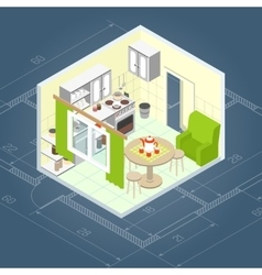 Kitchen interior isometric vector