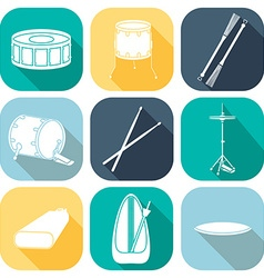 Drum icons 1 silhouette flat design vector