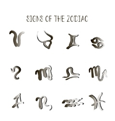 Set of zodiacs signs painted by hand astrology vector