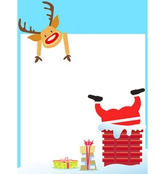 Santa claus stuck in the chimney card vector