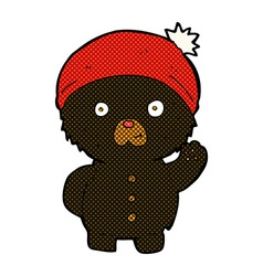 Comic cartoon waving black teddy bear in winter vector