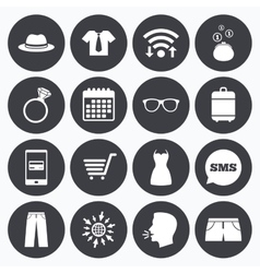 Clothes accessories icons shopping signs vector