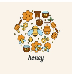 Honey and bee icons in the shape of honeycomb vector