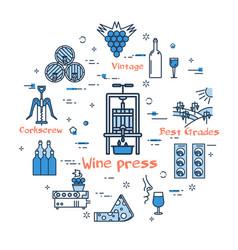 Blue round wine press concept vector