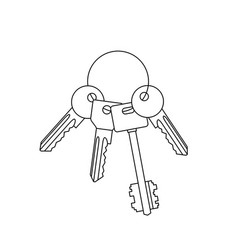 Bunch of keys line drawing vector