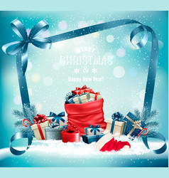 christmas background with a red sack full vector image vector image