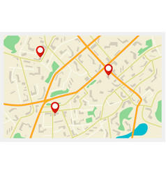 city map with red markers vector image