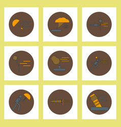 Collection of icons in flat style hurricane vector