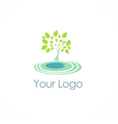 eco green tree logo vector image vector image