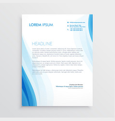 elegant blue letterhead design template with wavy vector image