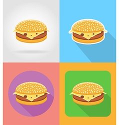 fast food flat icons 13 vector image