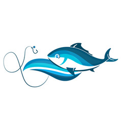 Fish on wave and hook vector