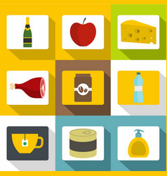 food store icons set flat style vector image