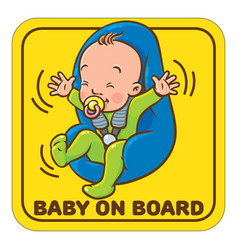 funny small baby with dummy in the car seat vector image