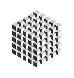 Grey geometric cube of 125 smaller isometric cubes vector