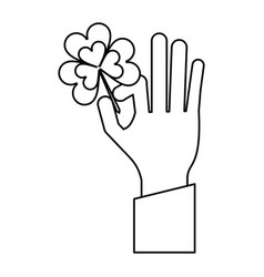Hand holding clover st patricks day thin line vector