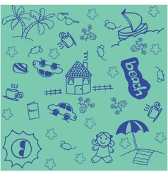 holiday in beach doodle art vector image vector image